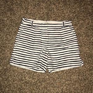 J. Crew White Black Striped Shorts